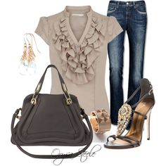 Straight Fit - Stretch Denim Jeans + Karen Millen Washed silk with ruffles + Chloe Taupe Bag Paraty Medium + Giuseppe Zanotti Open Toe Sandal