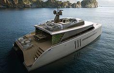 Picchio Boat: un catamarán que combina el concepto de un barco y el de una isla