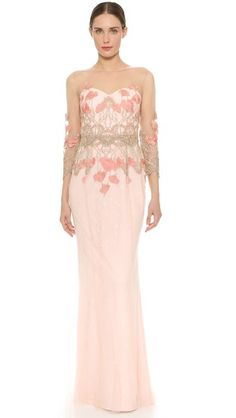 Marchesa Notte 3/4 Sleeve Tulle Gown