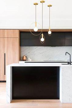 Modern Kitchen Interior Remodeling A sleek, modern kitchen Minimal Kitchen, Modern Kitchen Design, Interior Design Kitchen, Modern Interior Design, Home Design, Interior Styling, Kitchen Contemporary, Interior Ideas, Modern Kitchen Lighting