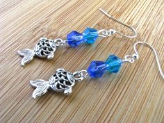 Beach Bling Silver Filigree Fish with Blue Sea Crystals Extra Long Dangly Earrings - pinned by pin4etsy.com