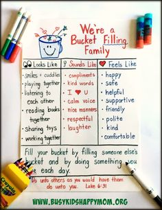 We're a Bucket Filling Family! I love this!! We could make one of these posters at our next family meeting.