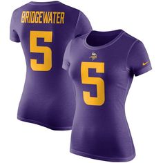 Teddy Bridgewater Minnesota Vikings Nike Women's Player Pride Color Rush Name & Number T-Shirt - Purple