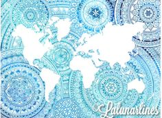 Ombré oceans turquoise mandala world map! We are all connected, we are one