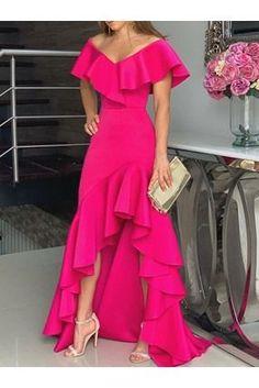 Off Shoulder Floor-Length High Waist Plain Dress CR 1981 in 2020 Dressy Dresses, Party Wear Dresses, Elegant Dresses, Beautiful Dresses, Dress Outfits, Fashion Outfits, Lace Dresses, Club Dresses, Plain Dress