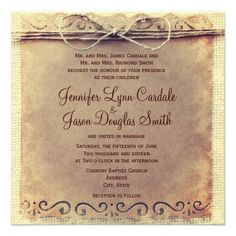Rustic Country Distressed Vintage Wedding Invitations