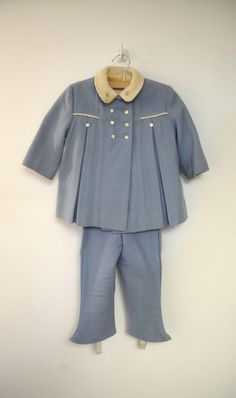 1950s Kute Kiddies Light Blue and Ivory Wool Coat and Snow Pants Set.