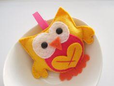 Valentine Owl Stuffed owl mini felt owl birthday by Mariapalito, $8.50