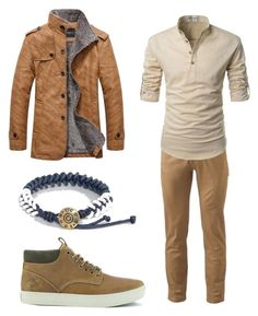 """Blue threads and leather"" by evelyngiles ❤ liked on Polyvore featuring Dockers, Timberland, Icon Brand, men's fashion and menswear"