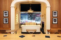 Looking from Clive Christian Architectural bar through to Clive Christian ivory architectural lounge with Alpha chandelier