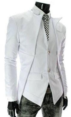White Blazer Men 2017 New Arrival Stand Collar Slim Fit Blazer Men Suit Coat Men Design Tuxedo Jacket Dress Jackets for Men Fashion Night, Look Fashion, Mens Fashion, Blazer Fashion, Fashion Black, Winter Fashion, Fashion Coat, Fashion Edgy, Fashion Rings