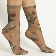 Mesh Socks, Lace Socks, Lace Gloves, Ankle Socks, White Tulip Bouquet, Floral Socks, Velvet Socks, Blue Tulips, Different Skin Tones