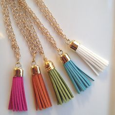 Tassel Necklaces on Gold Chains (Jcrew Inspired). $14.00, via Etsy.