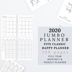 2020 Planner, Weekly and Monthly Planner, Full Year | Minimalistic Design | Classic Happy Planner Size, 2020 Journal by DesignerJaim on Etsy Academic Planner, Monthly Planner, Life Planner, Happy Planner, Dotted Page, Simple Minds, Teacher Planner, Business Planner, Printing Services