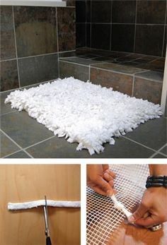 Bath mat from old towels. Might take a while to make, but fabulous idea. Other materials to use... just wondering? Love this look though. The towel mat will absorb wetness as you stand on it. Easy tutorial and video too.