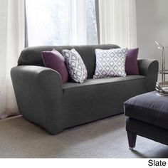 Maude One-piece Stretch Loveseat Slipcover - Overstock™ Shopping - Big Discounts on Loveseat Slipcovers
