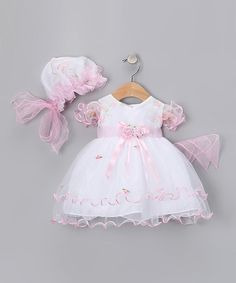 This White & Pink Curlicue Dress & Bonnet - Infant, Toddler & Girls is perfect! #zulilyfinds