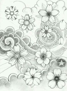 Flowers design tattoo sketches cherry blossoms 55 ideas for 2019 Japanese Flower Tattoo, Japanese Tattoo Designs, Japanese Flowers, Japanese Art, Tattoo Sketches, Tattoo Drawings, Body Art Tattoos, Sleeve Tattoos, Flor Oriental Tattoo