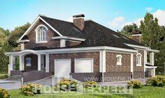 490-001-П Проект трехэтажного дома с мансардным этажом и гаражом, красивый домик из кирпича