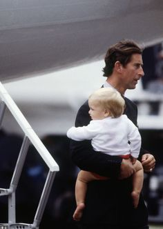 Charles with William.  He really did a wonderful job with the boys after Diana died. (I never saw this photo before)