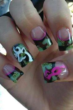 Browning and camo nails Pink Camo Nails, Camo Nail Art, Camouflage Nails, Gorgeous Nails, Pretty Nails, Redneck Nails, Country Girl Nails, Camo Nail Designs, Nail Design Rosa