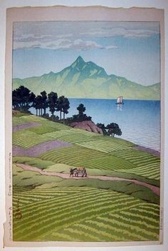 Kawase Hasui (1883-1957): Mount Unsen From Amakusa, 1937 ♥ Inspirations, Idées…