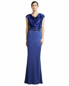 Sateen Milano Knit Gown with Liquid Satin Bodice and Sequined Waistline by St. John Collection at Neiman Marcus.