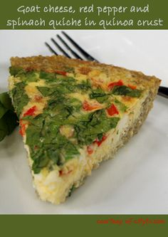 1/3 cup quinoa 2/3 cup water 2 tbsp non-hydrogenated margarine 3 tbsp egg whites ¼ tsp pepper Filling: 3.5 oz goat cheese ½ cup diced red bell pepper ½ cup tightly packed chopped spinach or arugula 4 omega-3 eggs ¼ cup egg whites ¼ cup water