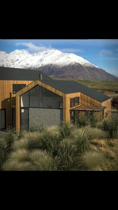Architect rendered drawings- back of house. New build, Jacks Point, Queenstown. Exterior Design, Interior And Exterior, New Builds, This Is Us, New Homes, Cabin, Landscape, Architecture, House Styles