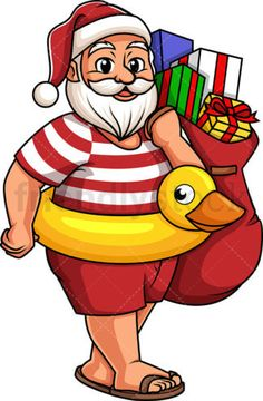 Summer Santa Claus Holding Gift Bag: Royalty-free stock vector illustration of a Santa Claus wearing flip flops, a hat and swim trunks, having a yellow duck float around his waist, and carrying a sack full of presents. Christmas Duck, Tropical Christmas, Christmas Art, Christmas 2019, Santa Cartoon, Holiday Cartoon, Cartoon Art, Duck Illustration, Illustrations