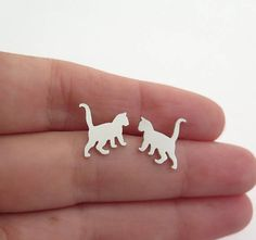 Kitten Earrings  Sterling Silver Cat Stud Earrings  Cat