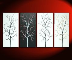 Black and White Tree Painting Zen Asian Cherry by NathalieVan, $285.00