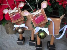 chunky christmas reindeer.....   If I scaled these down , these would be cute as an ornament