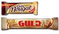 Guldnougat är originalet som har funnits ända sedan 1913, en lyxig svensk godbit formad som en guldtacka!
