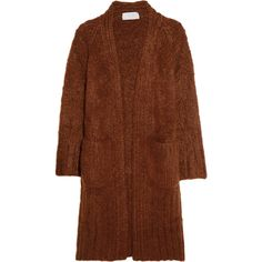 Chloé Chunky-knit mohair, wool and cashmere-blend cardigan (€1.005) ❤ liked on Polyvore featuring tops, cardigans, outerwear, coats, jackets, sweaters, colorful cardigan, mohair cardigan, brown top and cashmere blend cardigan