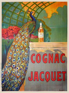 EuroGraphics Cognac Jacquet Peacock by Leonetto Cappiello Framed Vintage Brandy Advertising Poster Custom Made Real Wood Dark Mahogany with Black Trim Frame x 22 Vintage French Posters, Vintage Advertising Posters, Art Vintage, Vintage Wine, Vintage Advertisements, Vintage Ads, Retro Art, Vintage Style, French Vintage