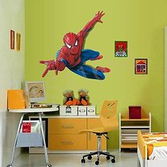 Yosa 3D Spiderman Wall Stickers Children Boys Bedroom Mural Wallpaper Art 11090cm @ niftywarehouse.com
