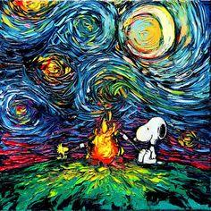 Snoopy arte van impresión cacahuetes historieta noche