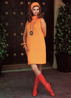 two popular things of the 1960s...the color orange and sweater dresses