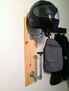 Make A Modern, Inexpensive DIY Helmet Rack To Keep Your Motorcycle Helmets  Off The Floor, Using Galvanized Pipes And Wood.