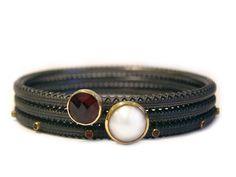 Bangle Trio: oxidised silver, 18ct gold, chess-cut garnet, mabe pearl & garnets