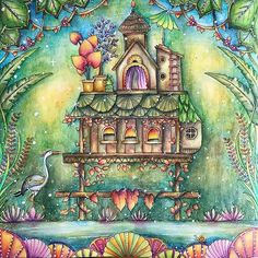 Humble dwelling in the #magicaljungle I used #Inktense pencils and #posca on this lovely page #johannabasford #magicaljunglecoloringbook #adultcoloringbook #derwent #大人の塗り絵