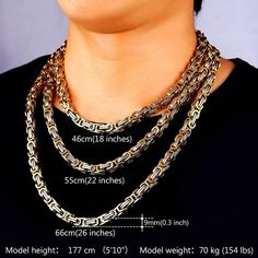 Stainless Steel And 18K Gold Plated Jewelry 9MM Wide Byzantine Chain Men Choker Necklace | Amazon.com