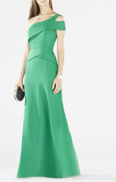 $189 ANNELY ONE-SHOULDER PEPLUM GOWN BY BCBG [XVR68F57-D3T]