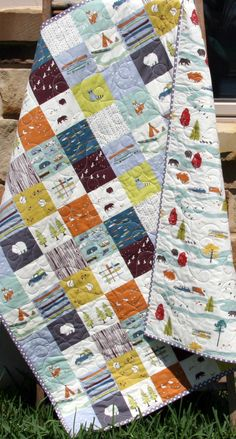 Baby Quilt, Organic, Baby, Camp Sur Feather River Outdoors Hiking Canoeing, Boy Blanket, Bears Fox Fish Modern Forest Woodland Ready to Ship by SunnysideDesigns2