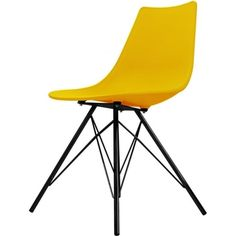 Iconic Yellow Plastic Dining Chair with Black Metal Legs