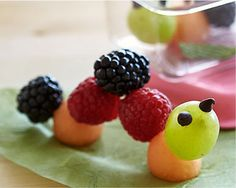 ingredients Fruit or berries of your choice Chocolate chips (optional) directions Wash fruit.  Skewer fruit with toothpicks or larger skewer sticks.  Add chocolate chips for the eyes.