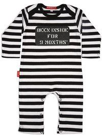 """Oh Baby London - Boys - Been Inside for 9 Months    Oh Baby London signature style, the 'Been Inside for 9 Months"""" playsuit in black and white stripe.  Made from 98% cotton 2% elastane for extra stretch and happy washing.  Fabrics are all made to Oektex 100 Standard (that's tested for harmful chemicals)  Envelope neck for easy-on, easy off €25.00"""