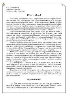 C.E. Urbano Rocha  Disciplina: Filosofia  Professora: Mary Alvarenga  Ética e Moral  Ética e moral são dois termos que se comp...