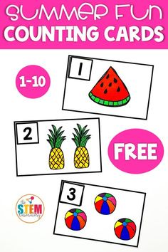 FREE Summer Themed Counting Cards for kids! A great way for preschool kids to work on identifying and counting from 1-10 this summer. #mathfreebies #summermath #preschool #theSTEMLaboratory